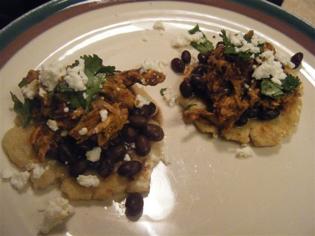 Chicken and Black Bean Mole Gorditas (or Tacos or Tostadas) | Juicy ...